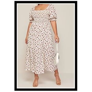 Plus Puff Sleeve Floral Dress (final Price)